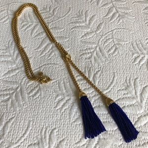 Jcrew gold and cobalt blue tassel necklace